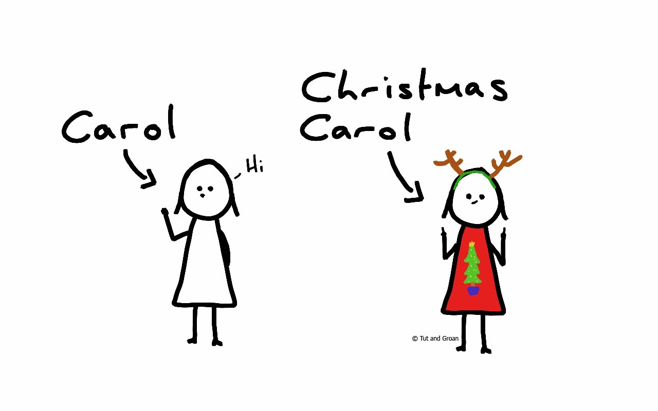 Tut and Groan Christmas Carol cartoon