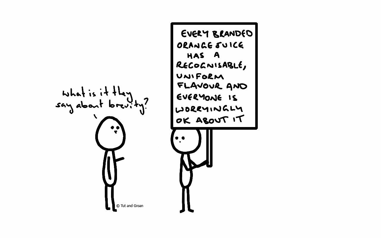 Tut and Groan Orange Juice cartoon