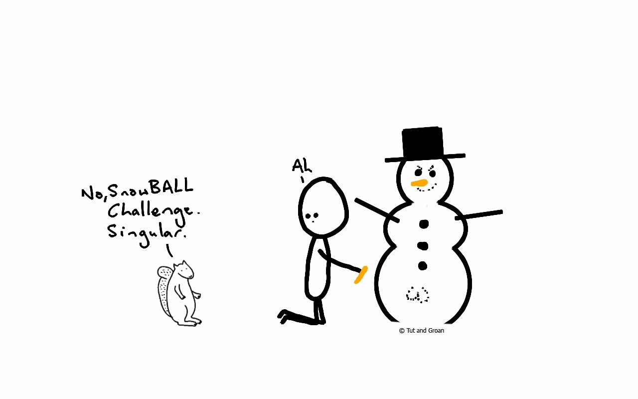 Tut and Groan Snowball Challenge 2016 cartoon
