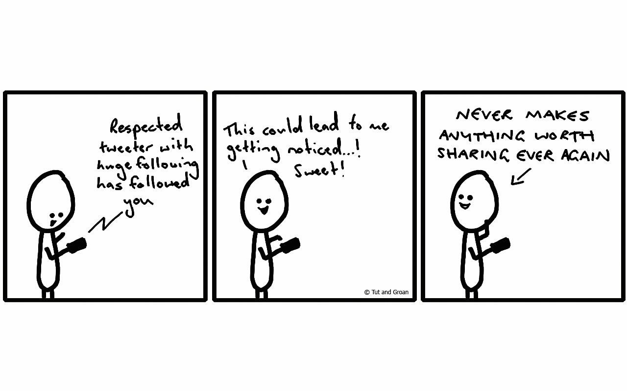 Tut and Groan Three Panels: Popular Follower cartoon