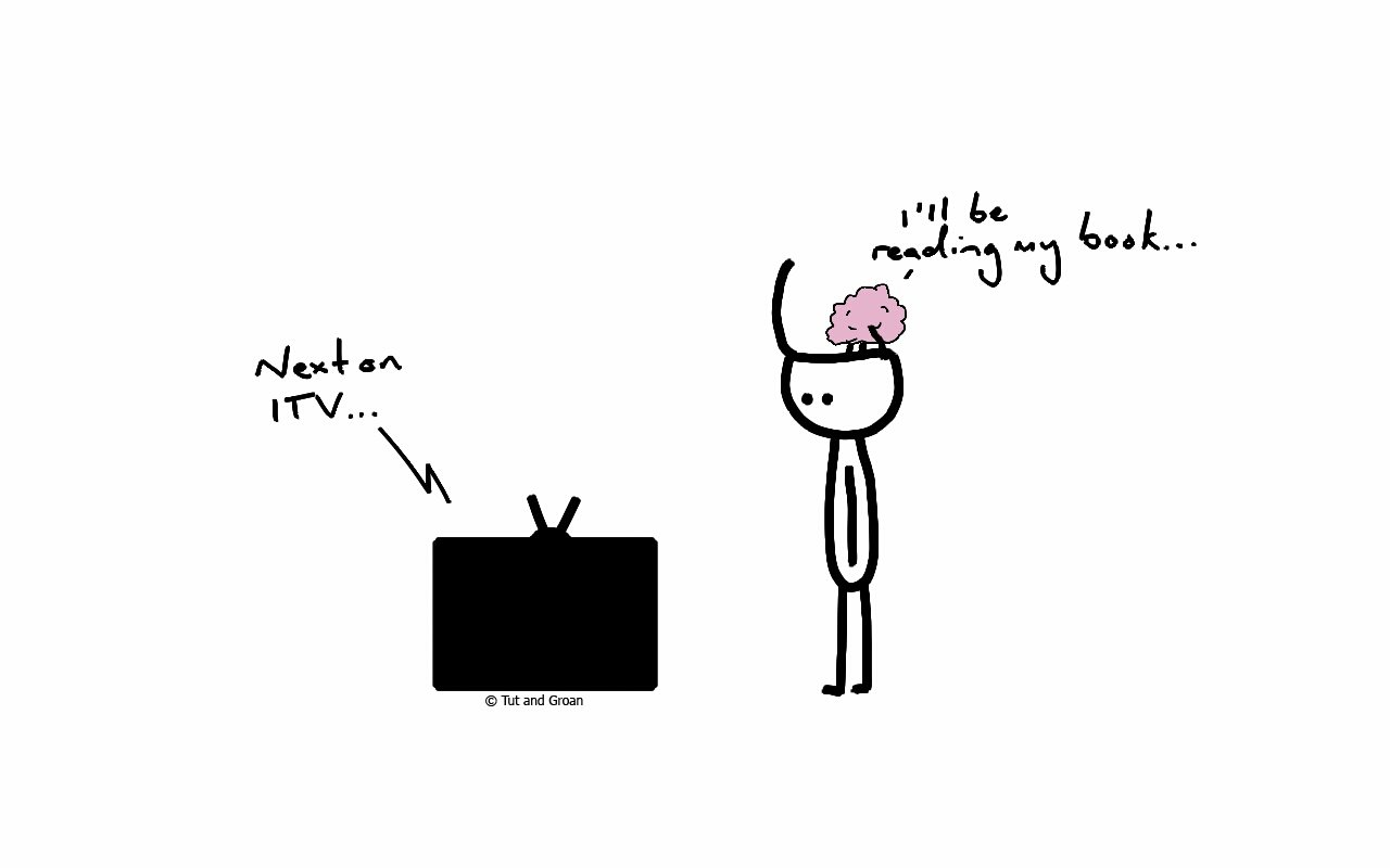 Tut and Groan Brain Not Needed cartoon