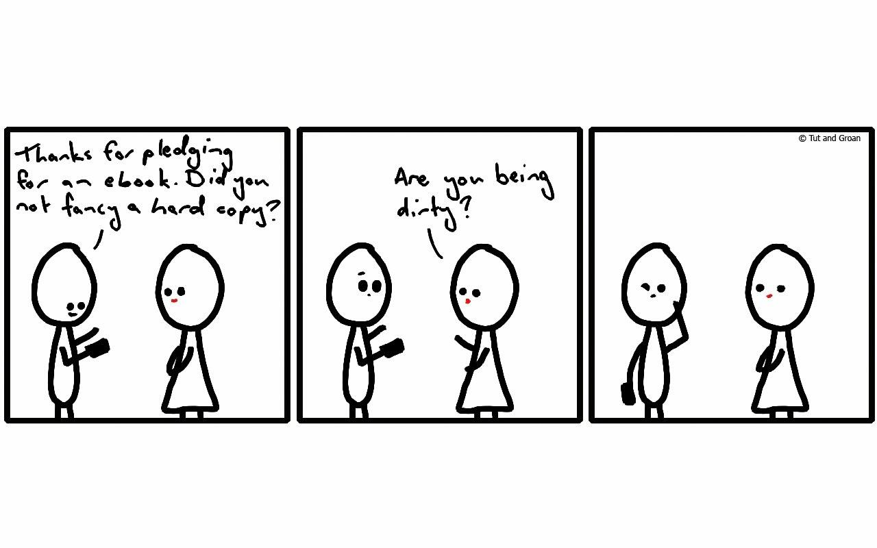 Tut and Groan Three Panels: Hard Copy cartoon