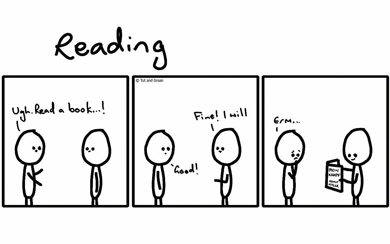 Tut and Groan Three Panels: Reading cartoon