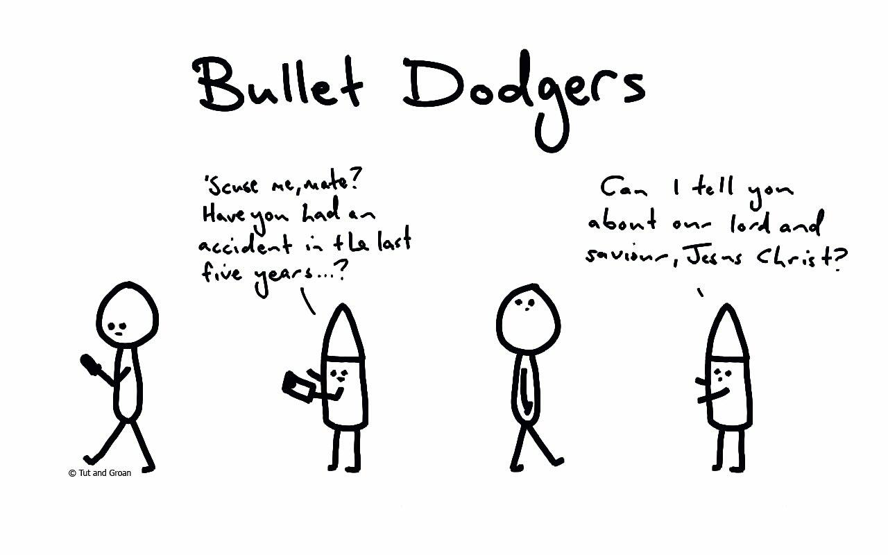 Tut and Groan Bullet Dodgers cartoon