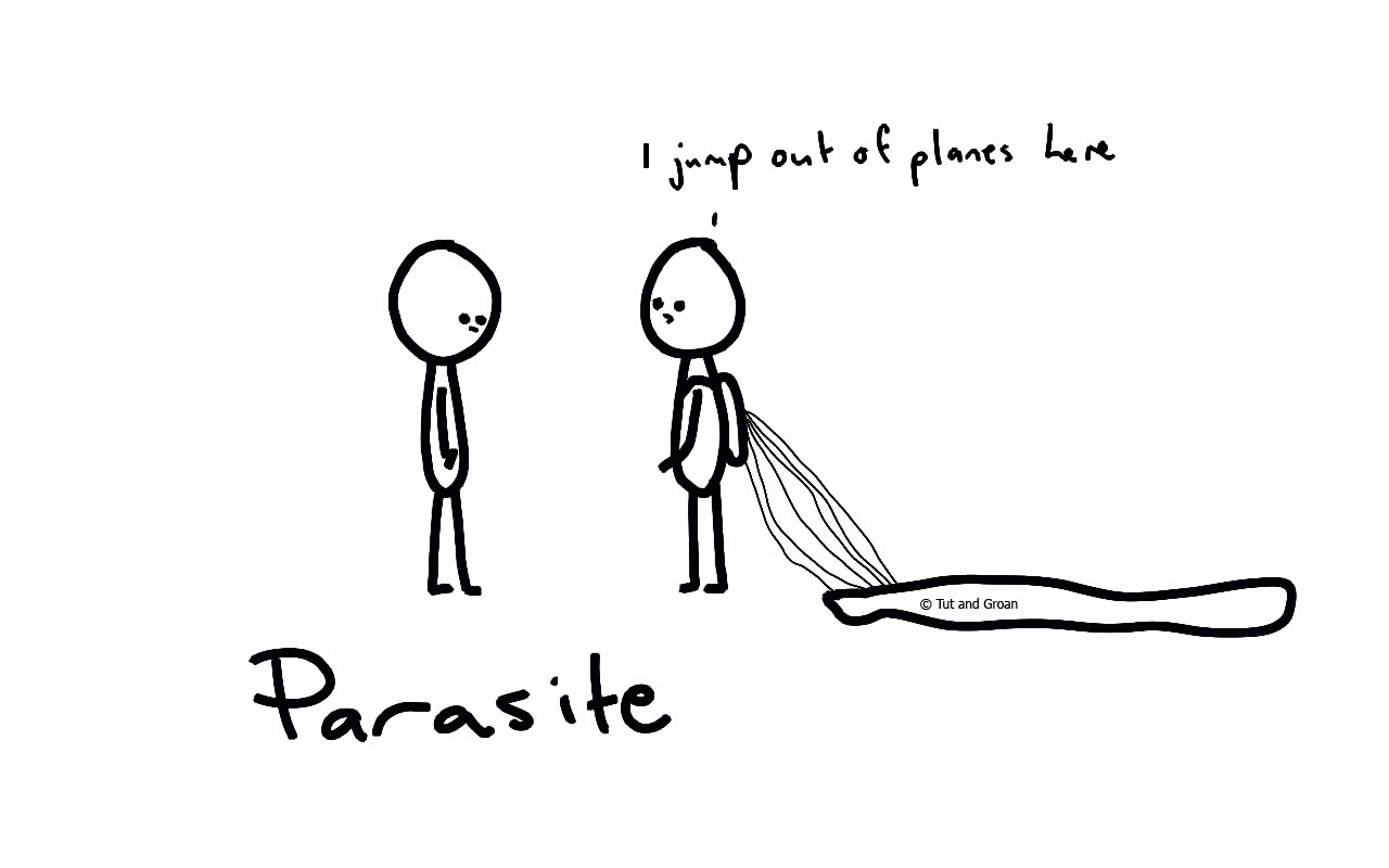 Tut and Groan Parasite cartoon