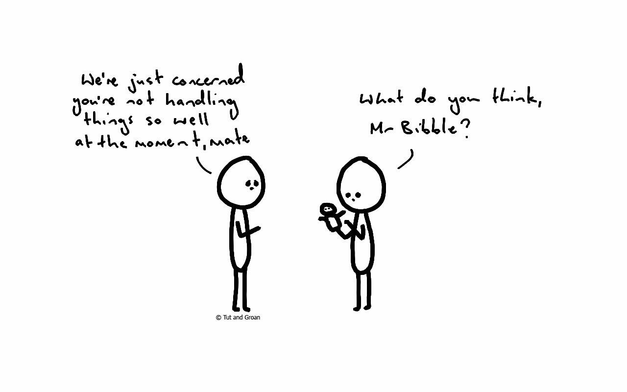 Tut and Groan Handling Things cartoons