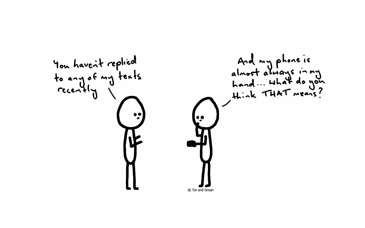 Tut and Groan Replying to Texts cartoon