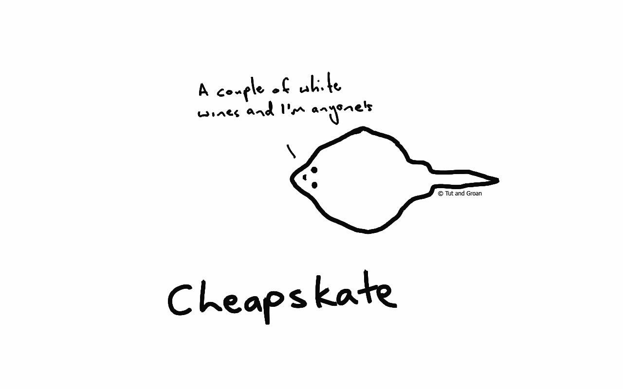 Tut and Groan Cheapskate cartoon