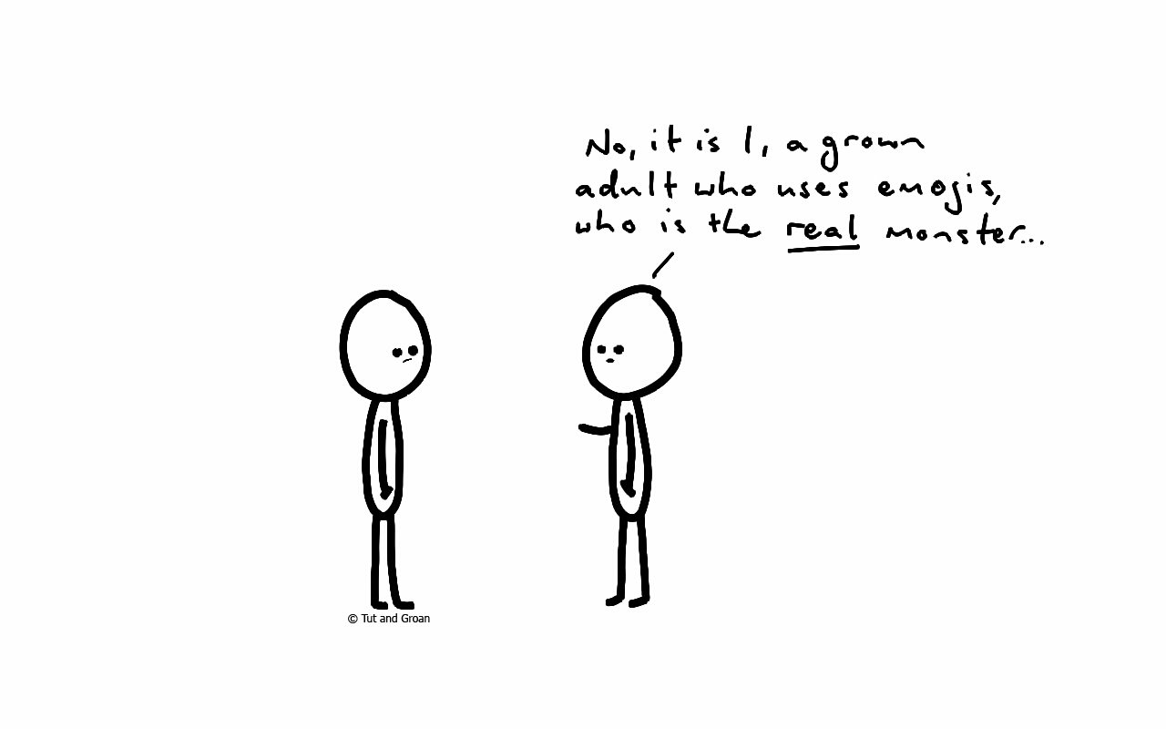 Tut and Groan Emoji cartoon