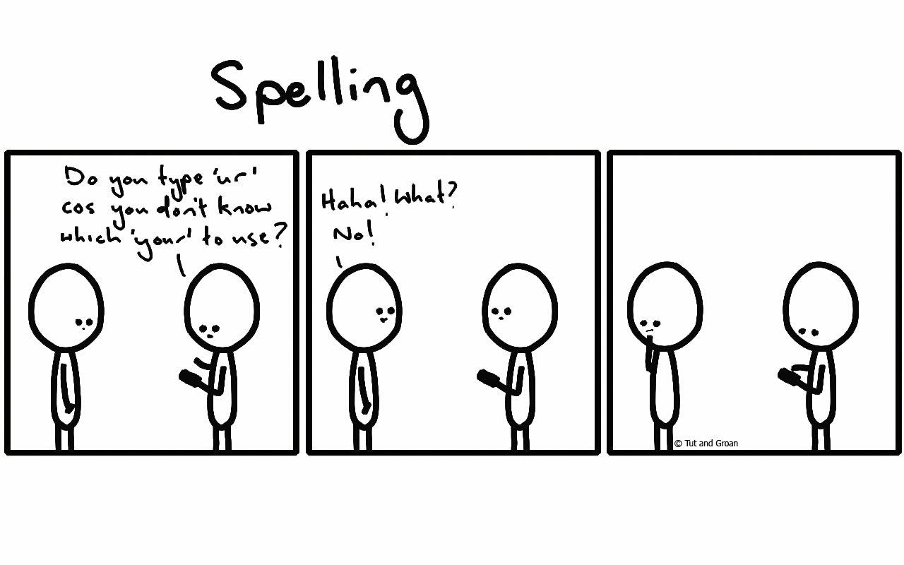 Tut and Groan Three Panels: Spelling cartoon