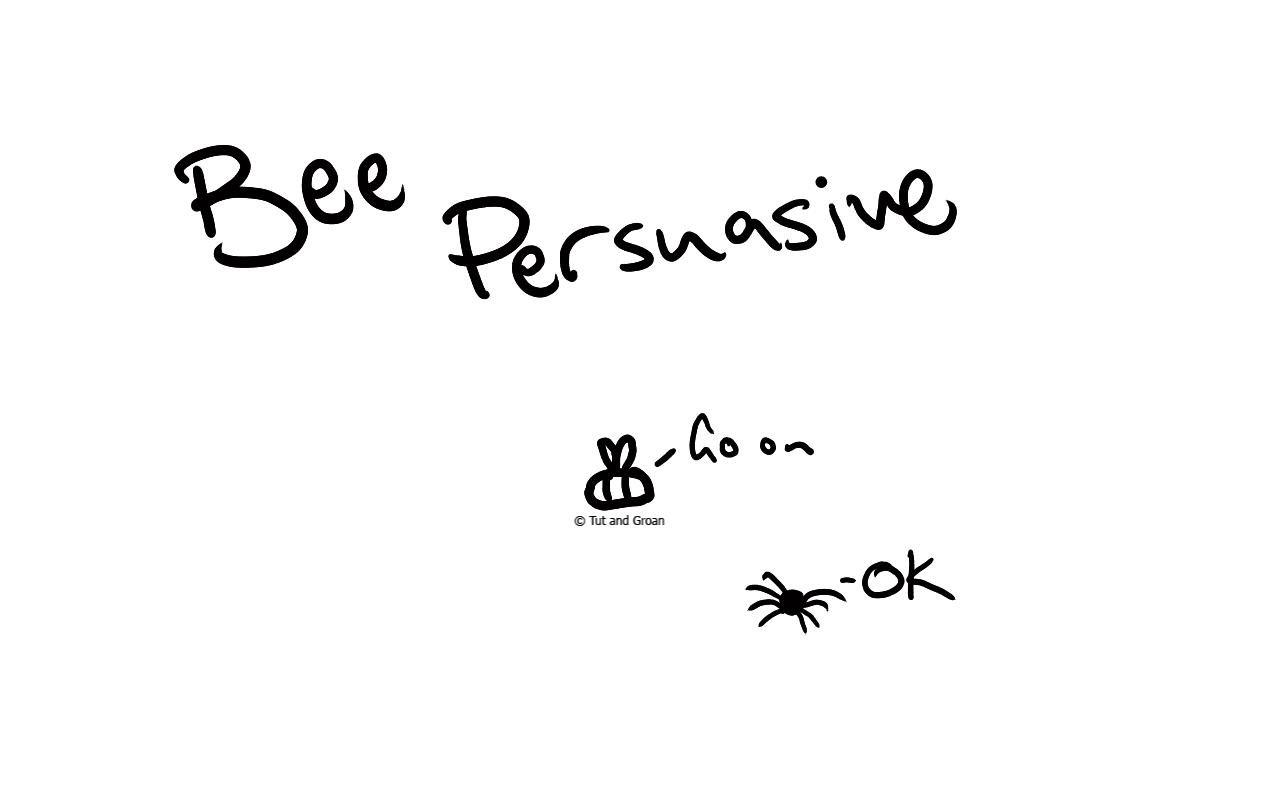 Tut and Groan Bee Persuasive cartoon