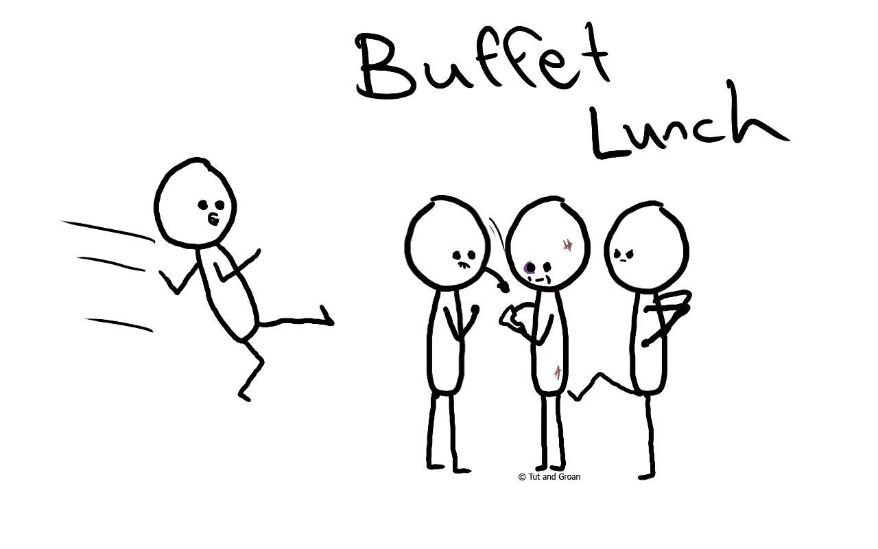Tut and Groan Buffet Lunch cartoon