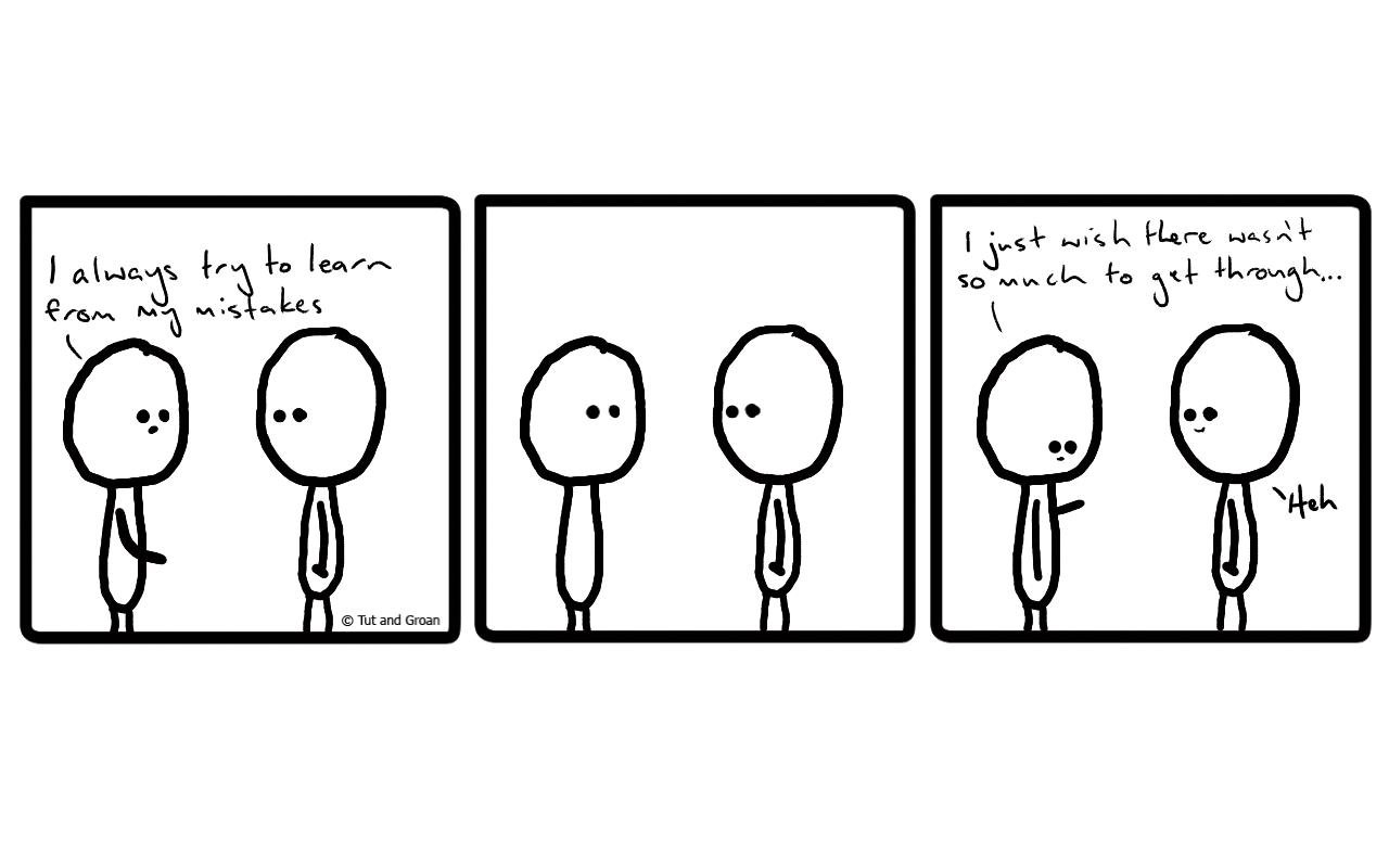 Tut and Groan Three Panels: Mistakes cartoon