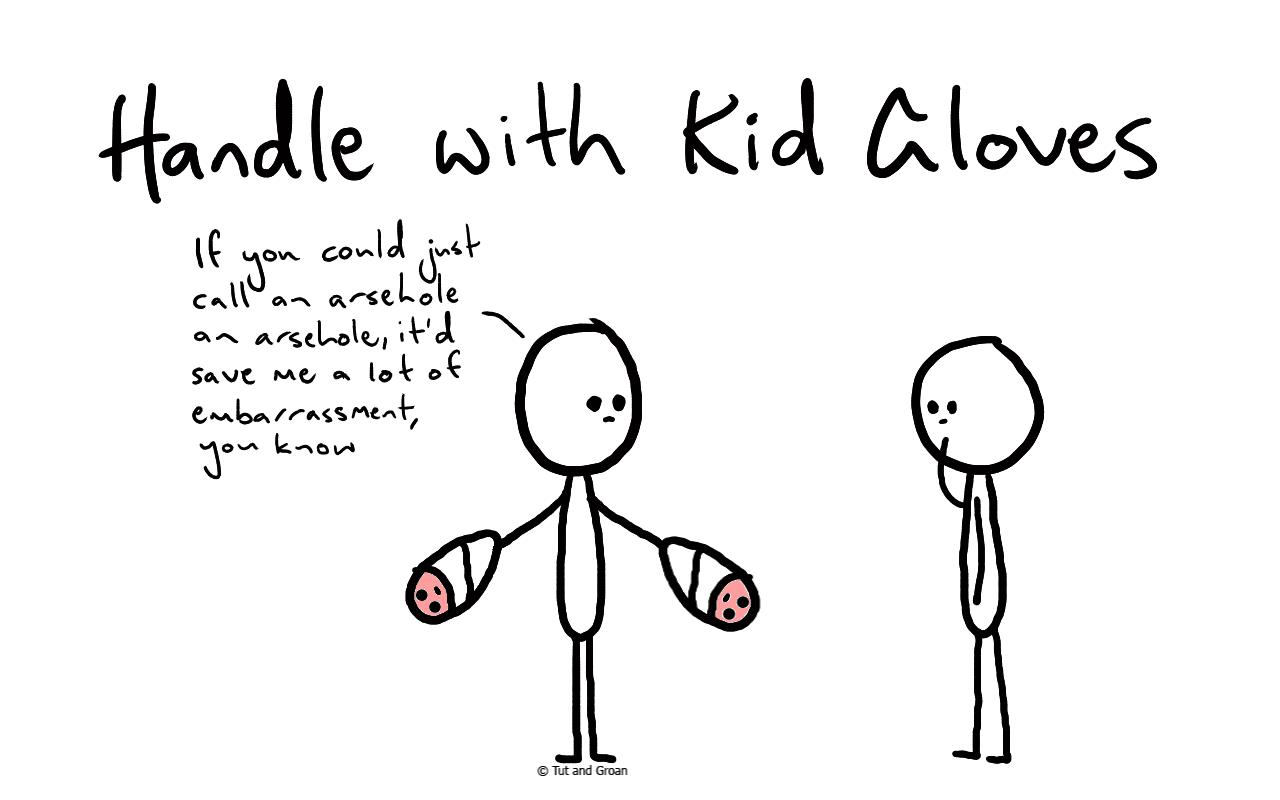 Tut and Groan Handle with Kid Gloves cartoon