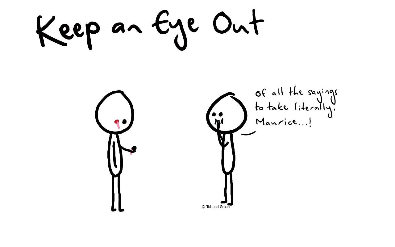 Tut and Groan Keep An Eye Out cartoon