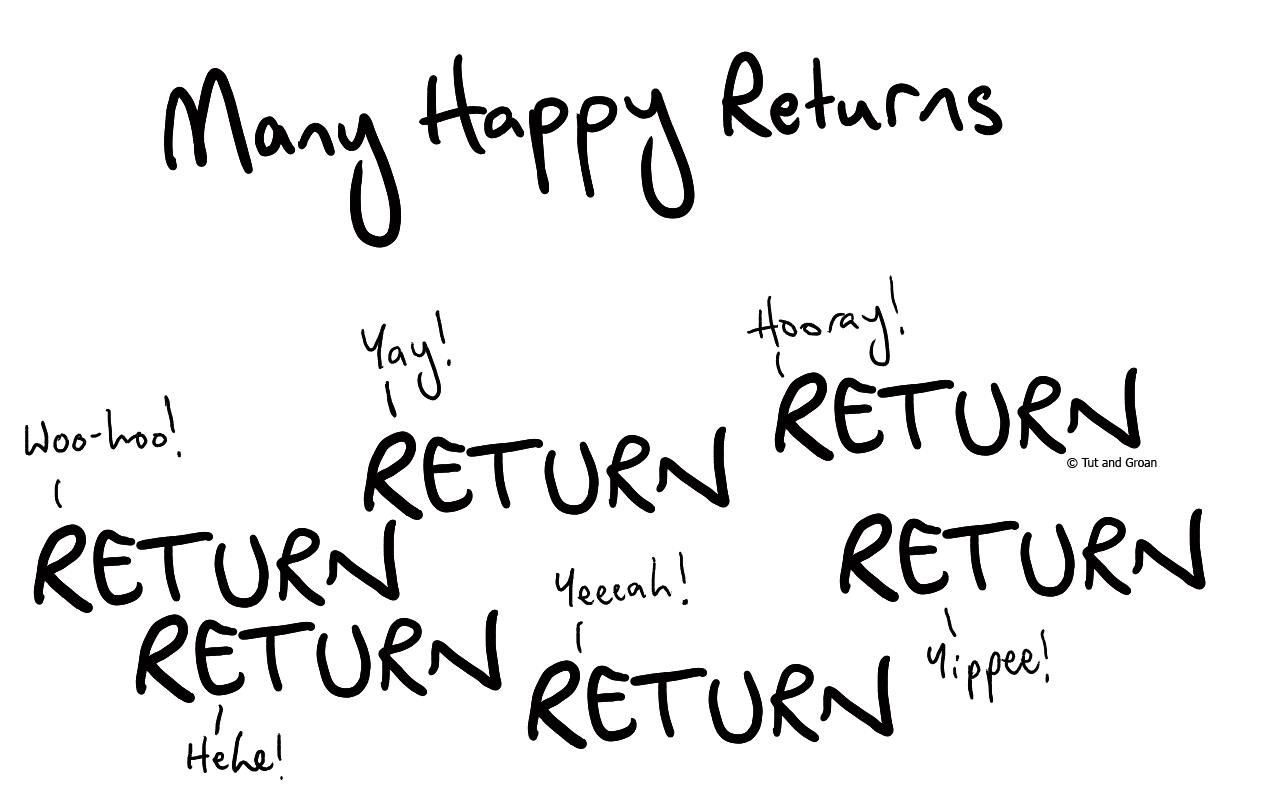 Tut and Groan Many Happy Returns cartoon
