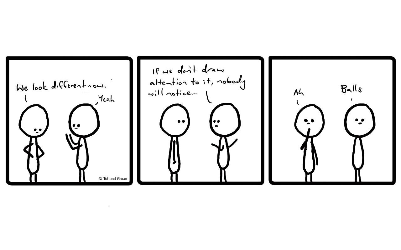 Tut and Groan Three Panels: Different cartoon