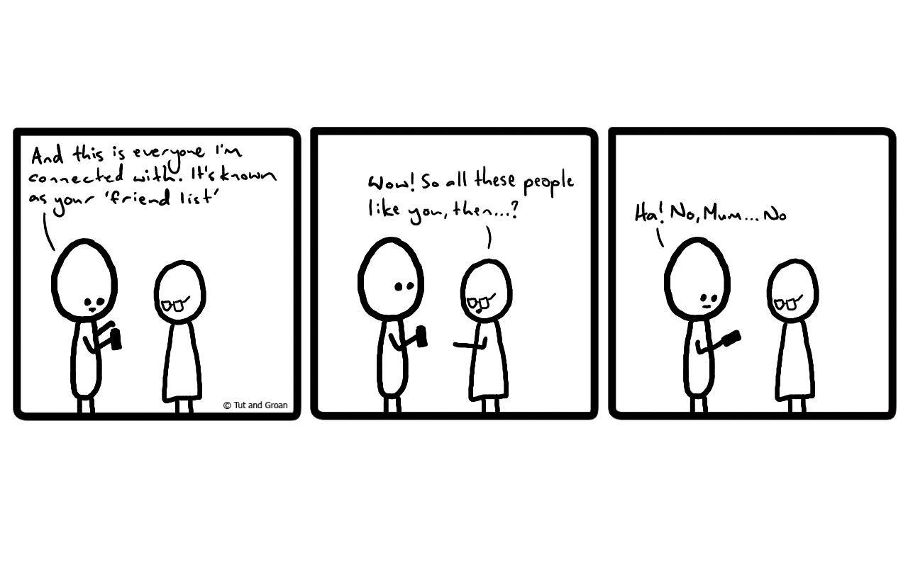 Tut and Groan Three Panels: Teaching Mum Facebook cartoon