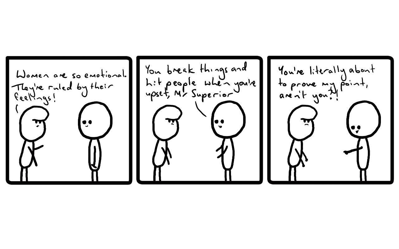 Tut and Groan Three Panels: Feelings cartoon