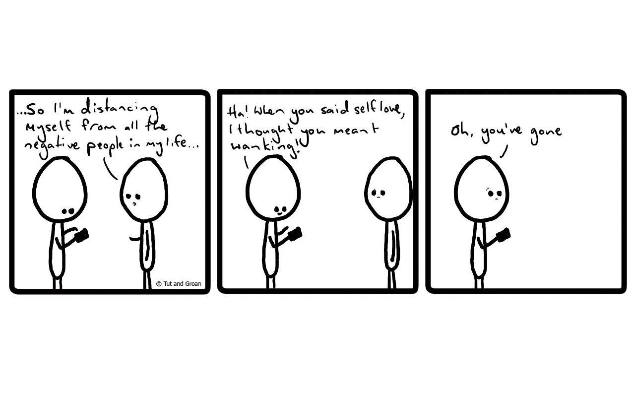 Tut and Groan Three Panels: Self Love cartoon