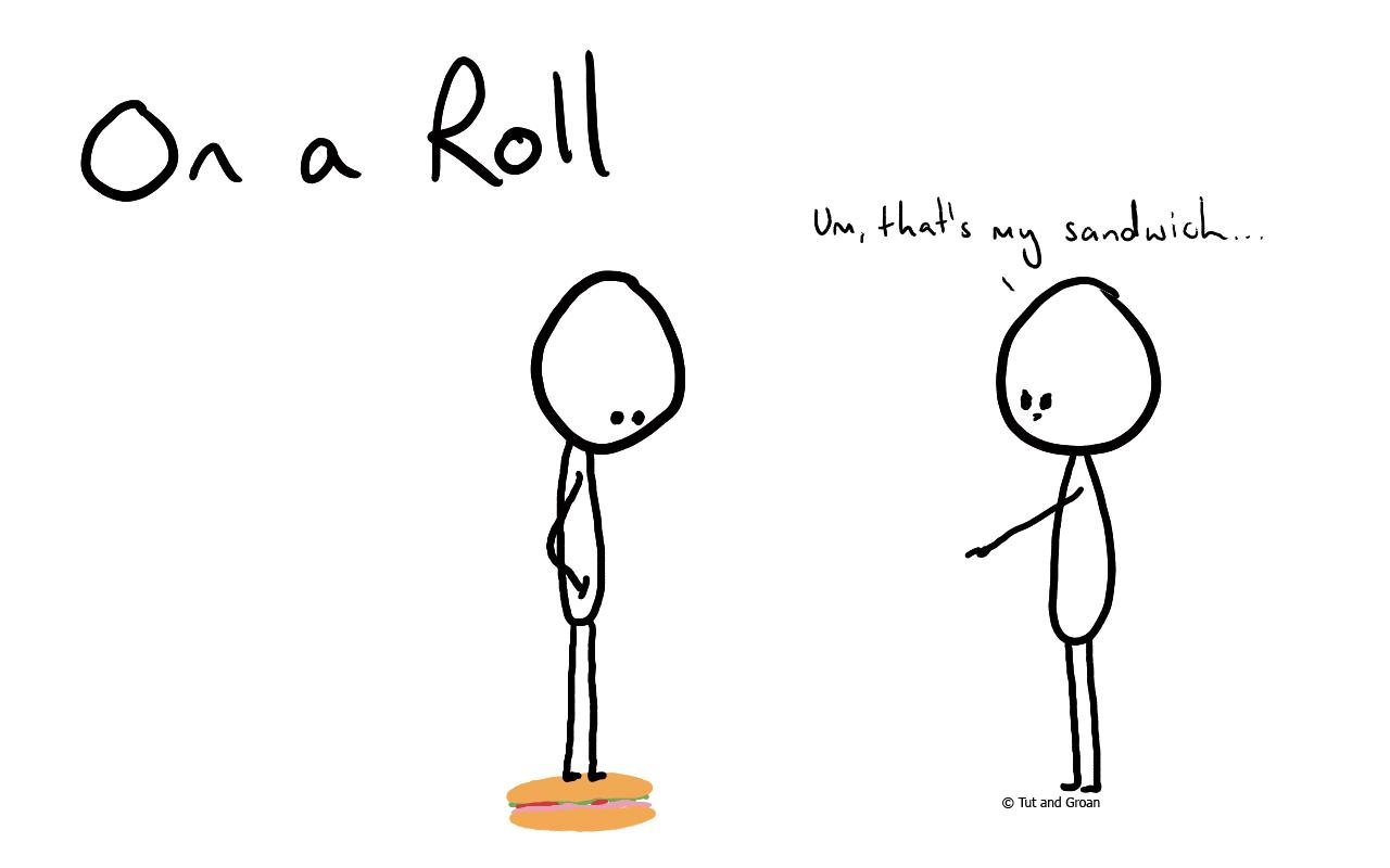 Tut and Groan On a Roll cartoon