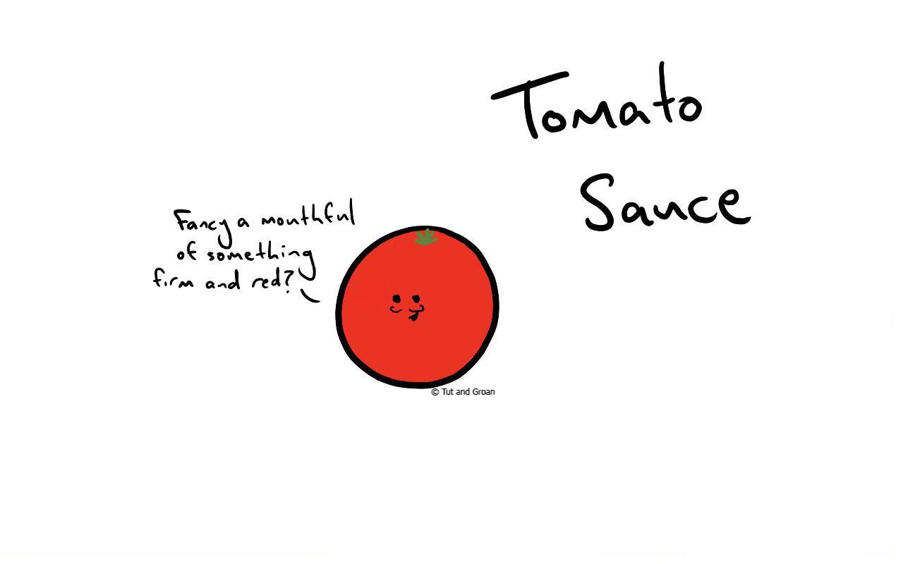 Tut and Groan Tomato Sauce cartoon