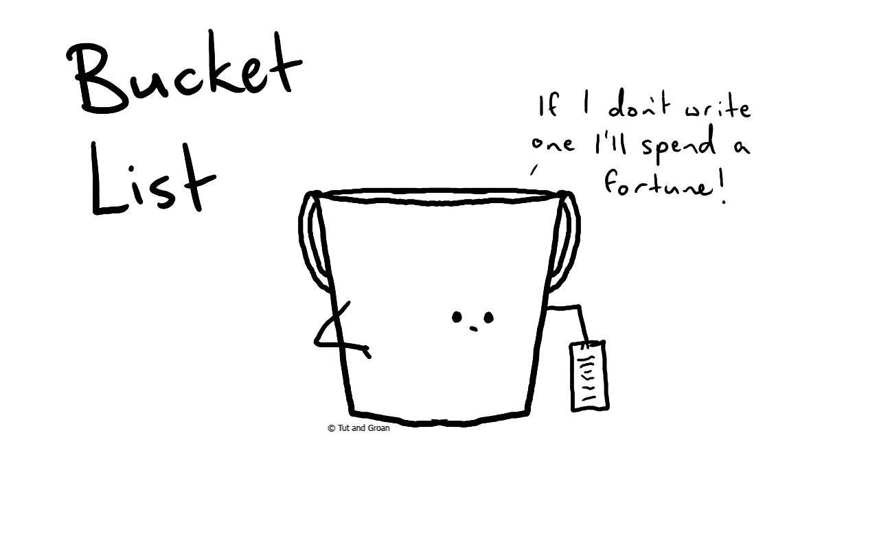 Tut and Groan Bucket List cartoon