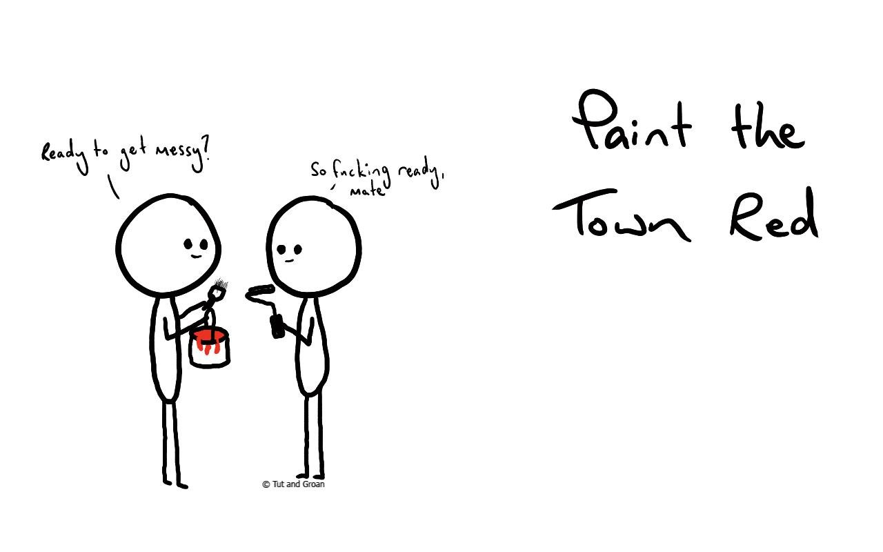 Tut and Groan Paint the Town Red cartoon