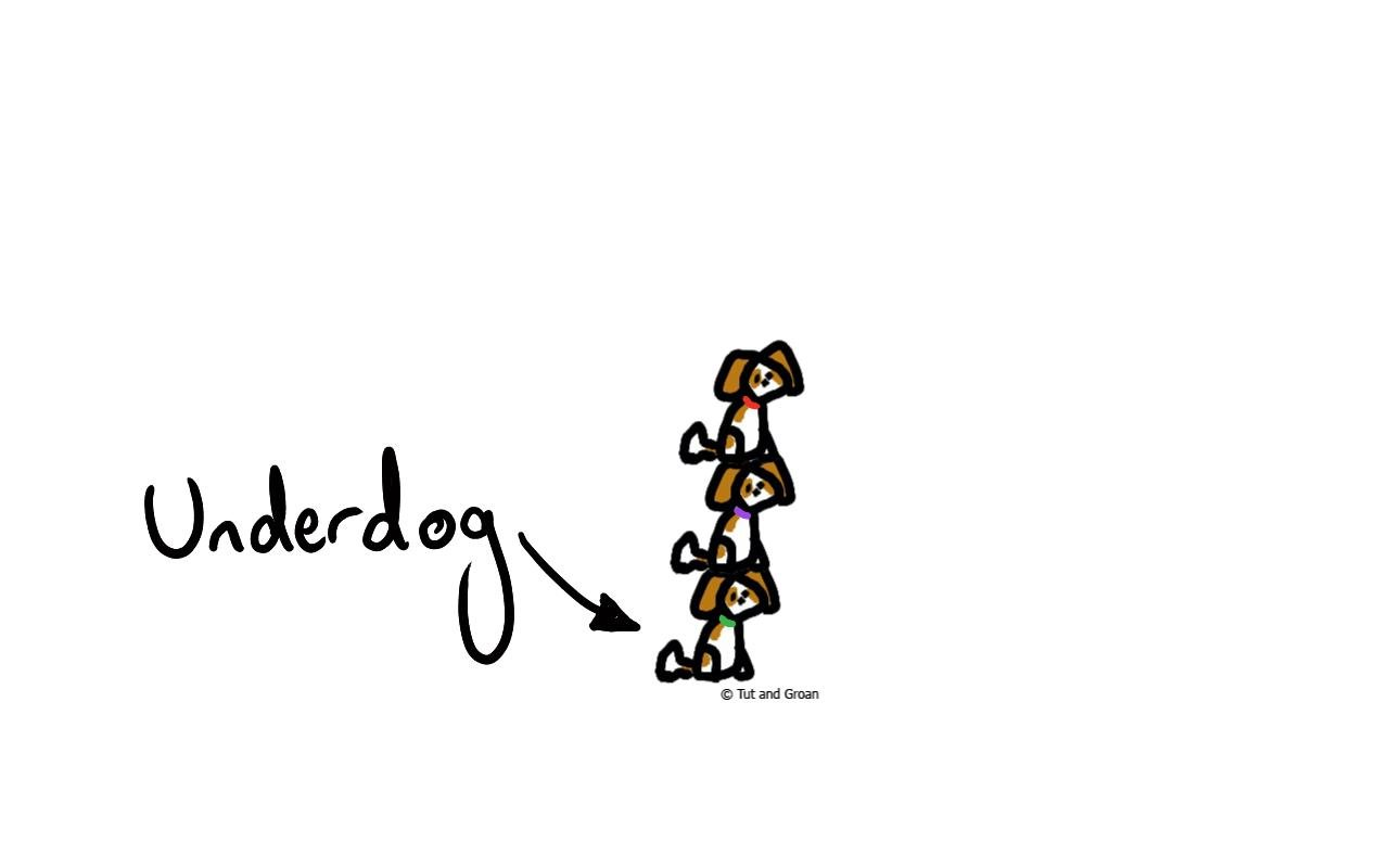 Tut and Groan Underdog cartoon