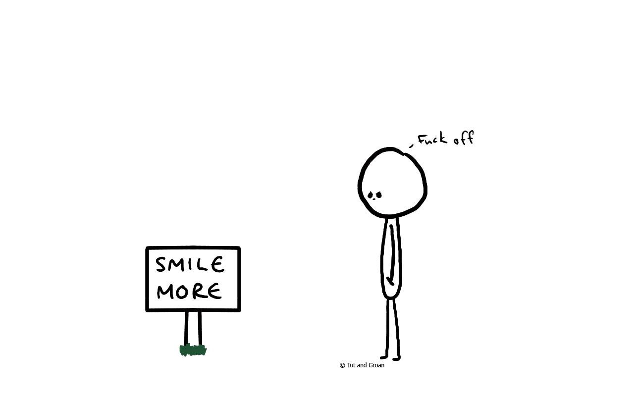 Tut and Groan Smile More cartoon