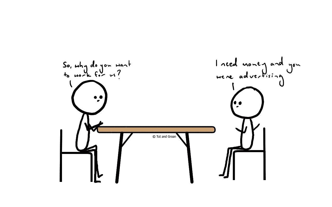 Tut and Groan Job Interview One cartoon