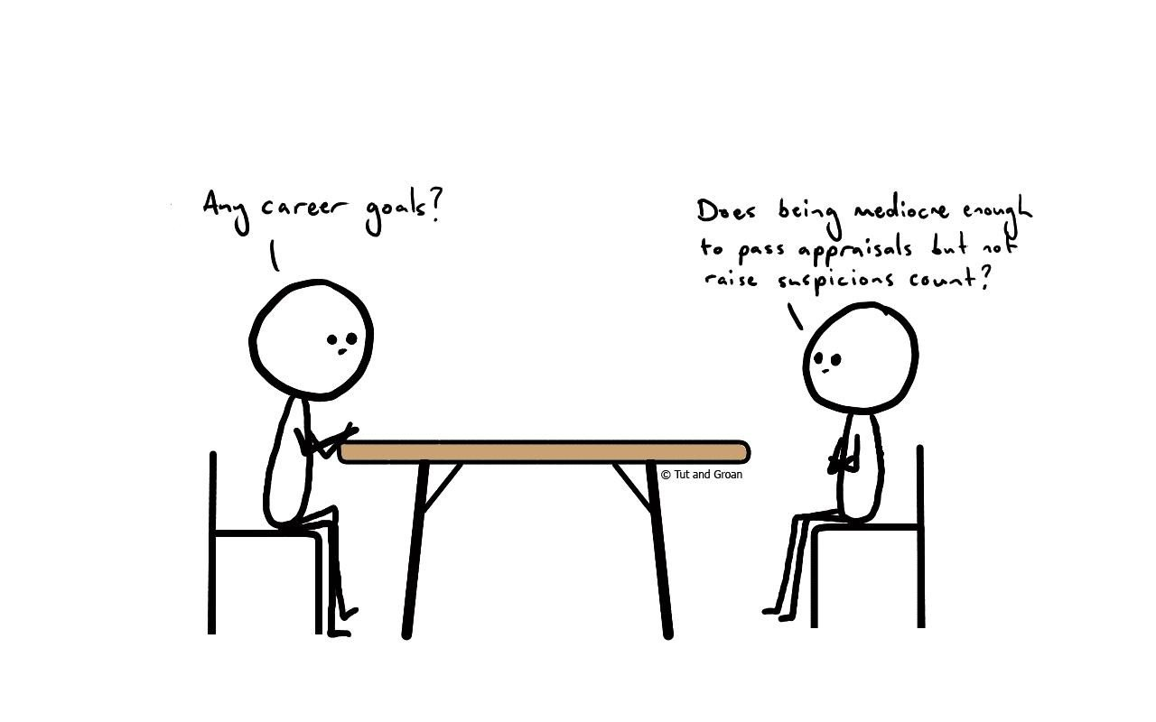 Tut and Groan Job Interview Two cartoon