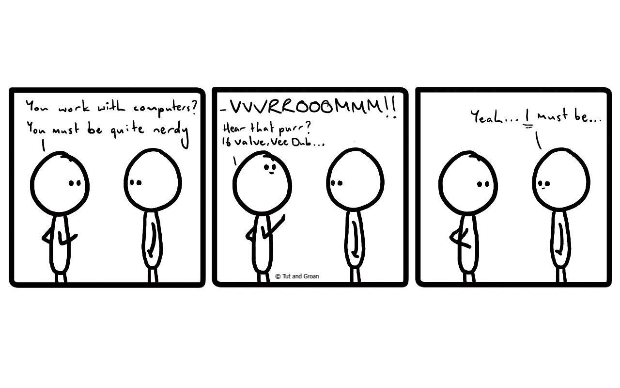 Tut and Groan Three Panels: Nerdy cartoon