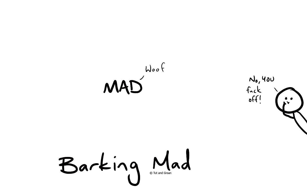 Tut and Groan Barking Mad cartoon