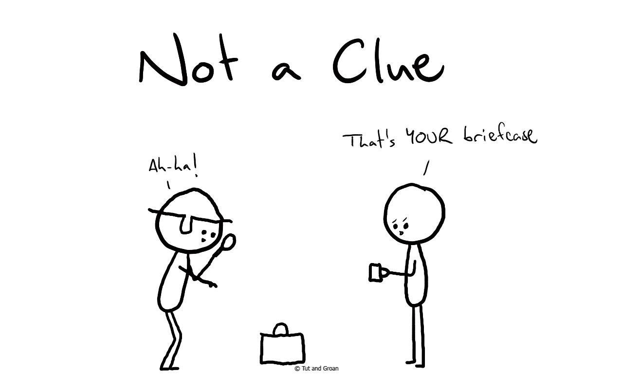 Tut and Groan Not a Clue cartoon