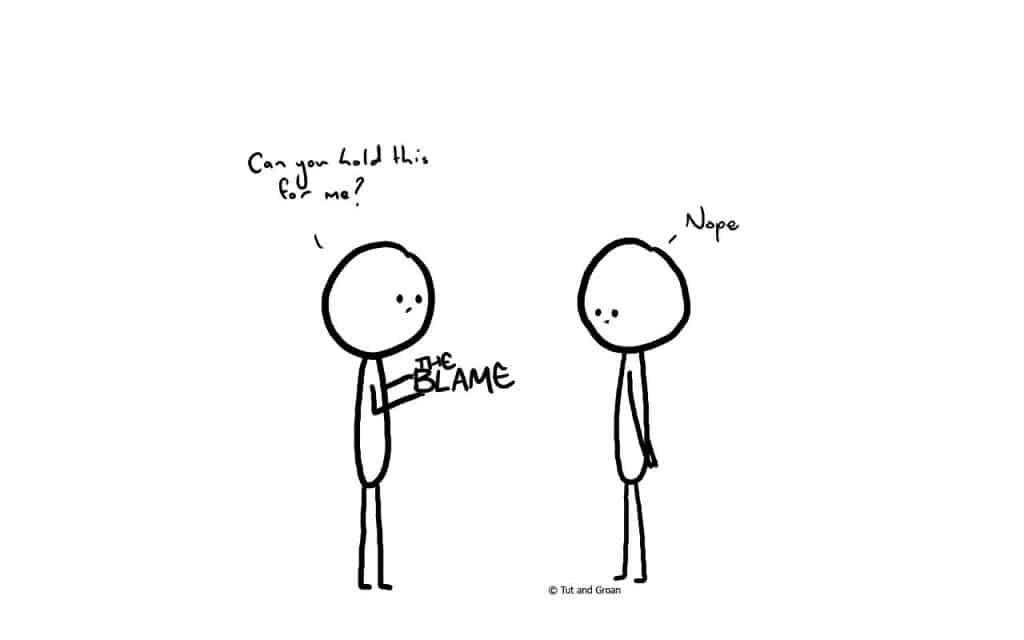 Tut and Groan Blame cartoon
