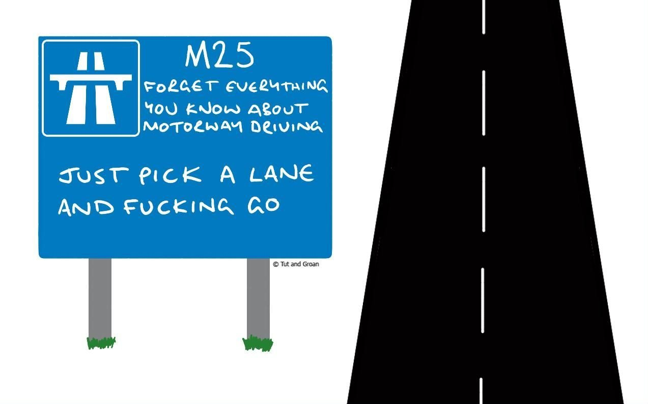 Tut and Groan M25 cartoon