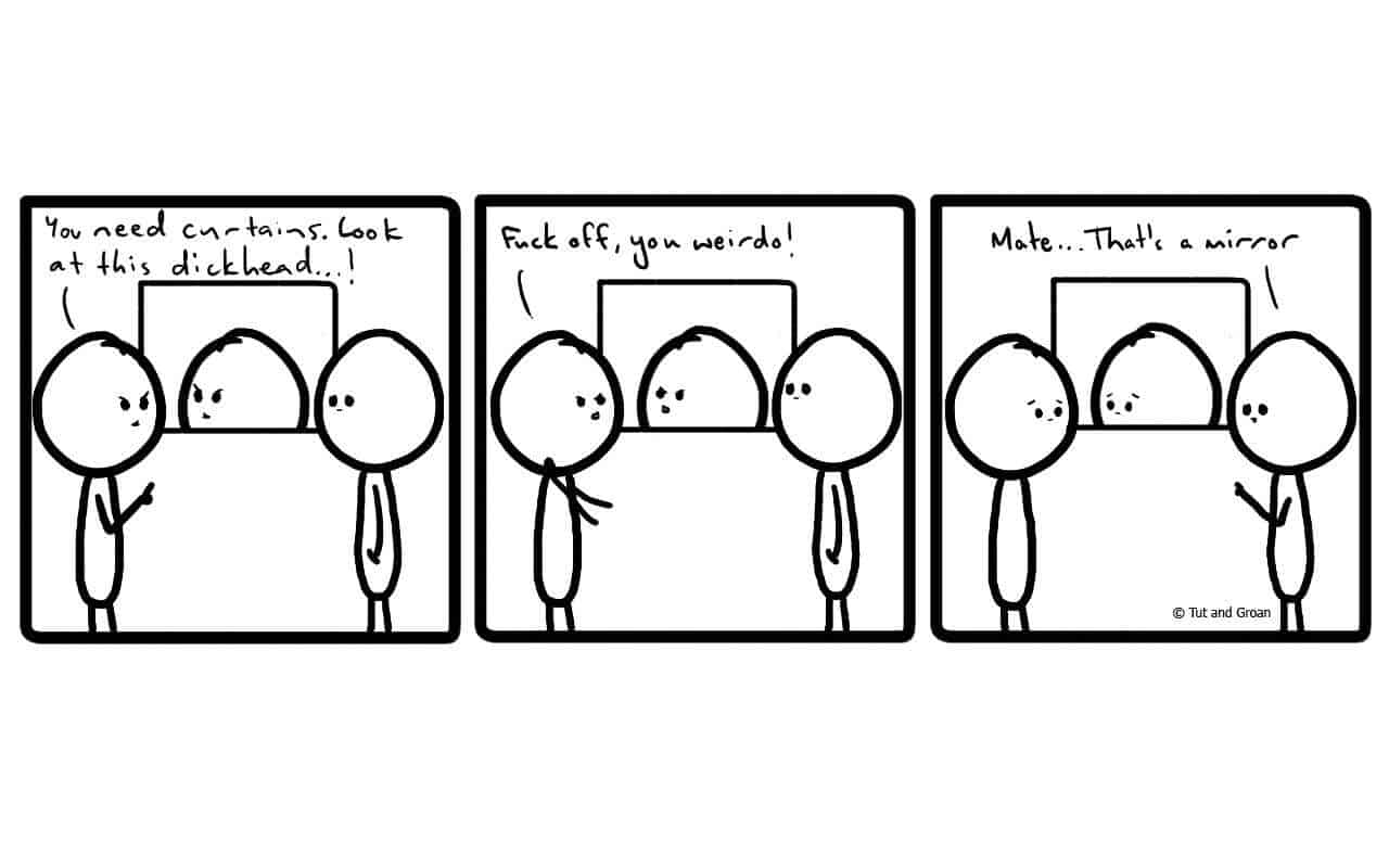 Tut and Groan Three Panels: Window cartoon