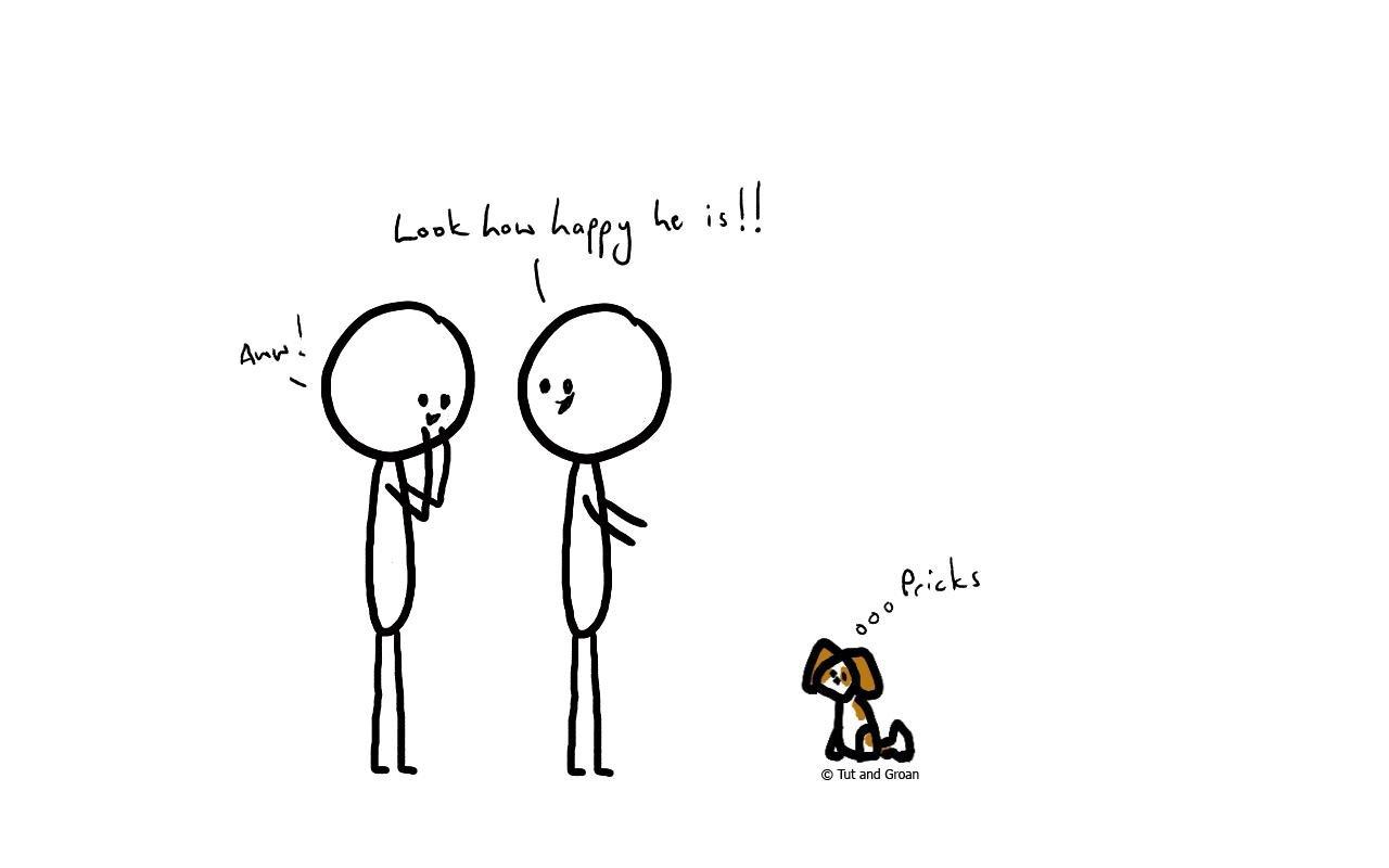 Tut and Groan Anthropomorphising cartoon