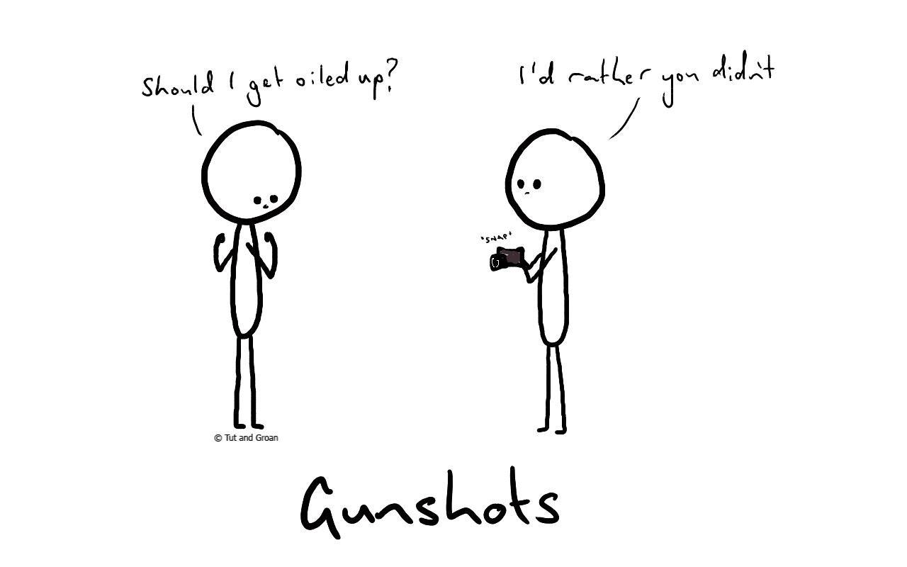 Tut and Groan Gunshots cartoon