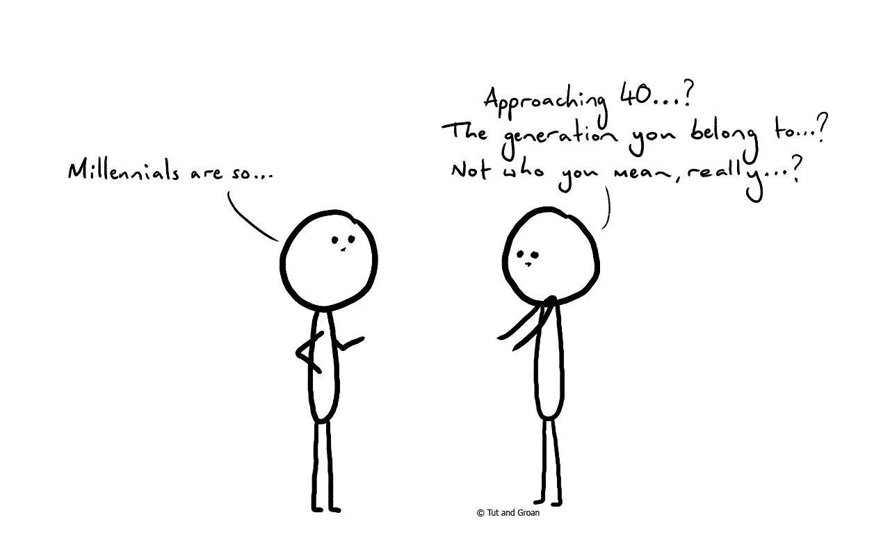 Tut and Groan Millennials cartoon
