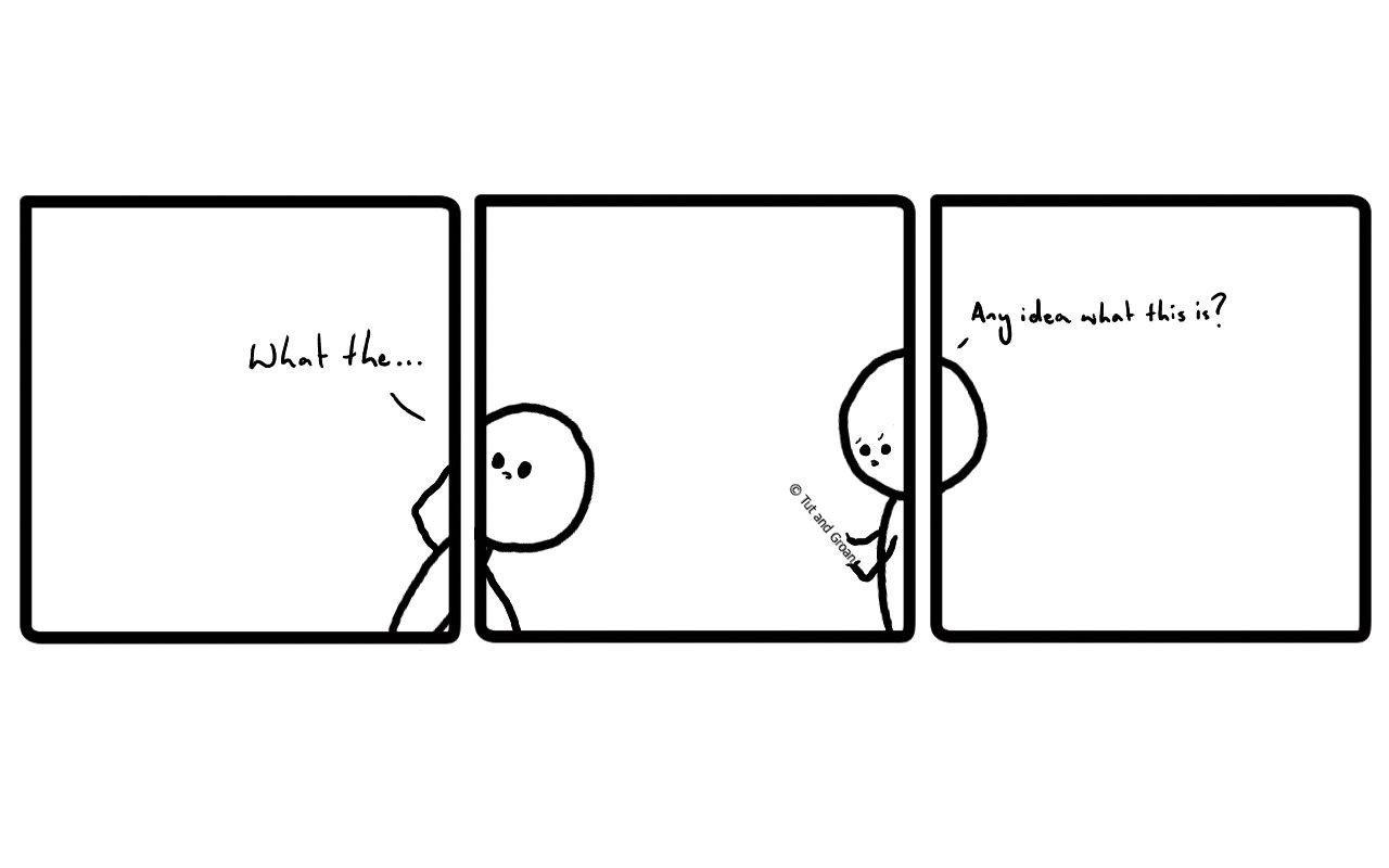 Tut and Groan Three Panels: Self Aware cartoon