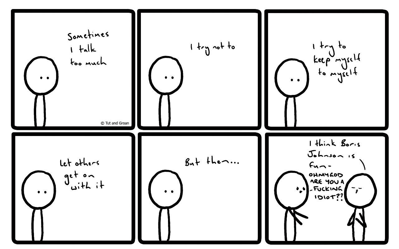 Tut and Groan Six Panels: Talk Too Much cartoon