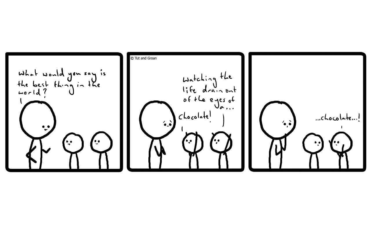 Tut and Groan Three Panels: Best Thing in the World cartoon