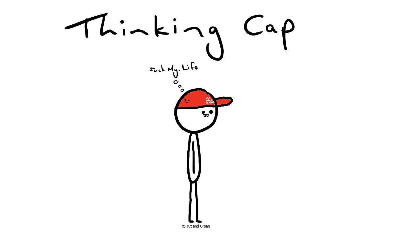 Tut and Groan Thinking Cap cartoon