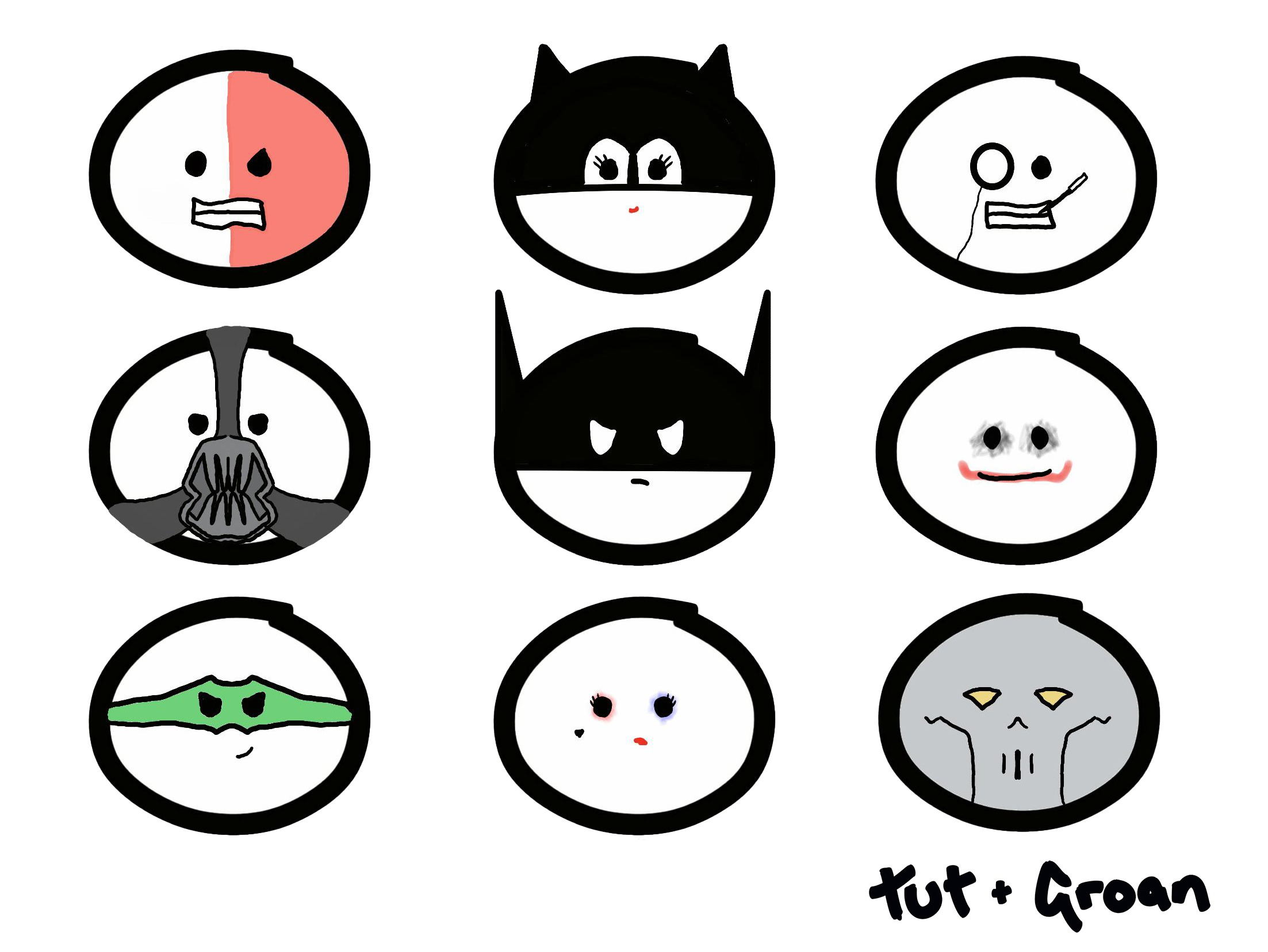Tut and Groan Batman and His Villains collage