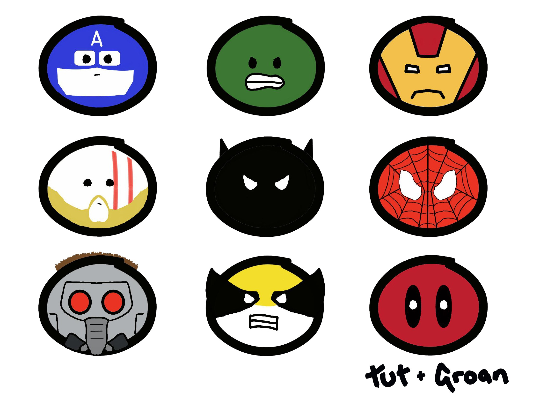 Tut and Groan Marvel Heroes collage