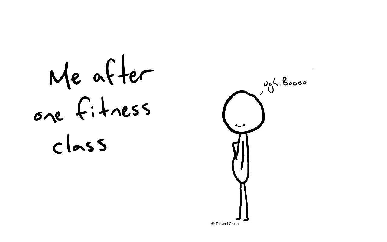 Tut and Groan Fitness Class cartoon