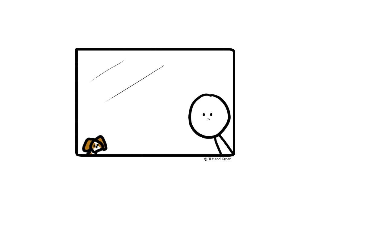 Tut and Groan Staying Indoors cartoon