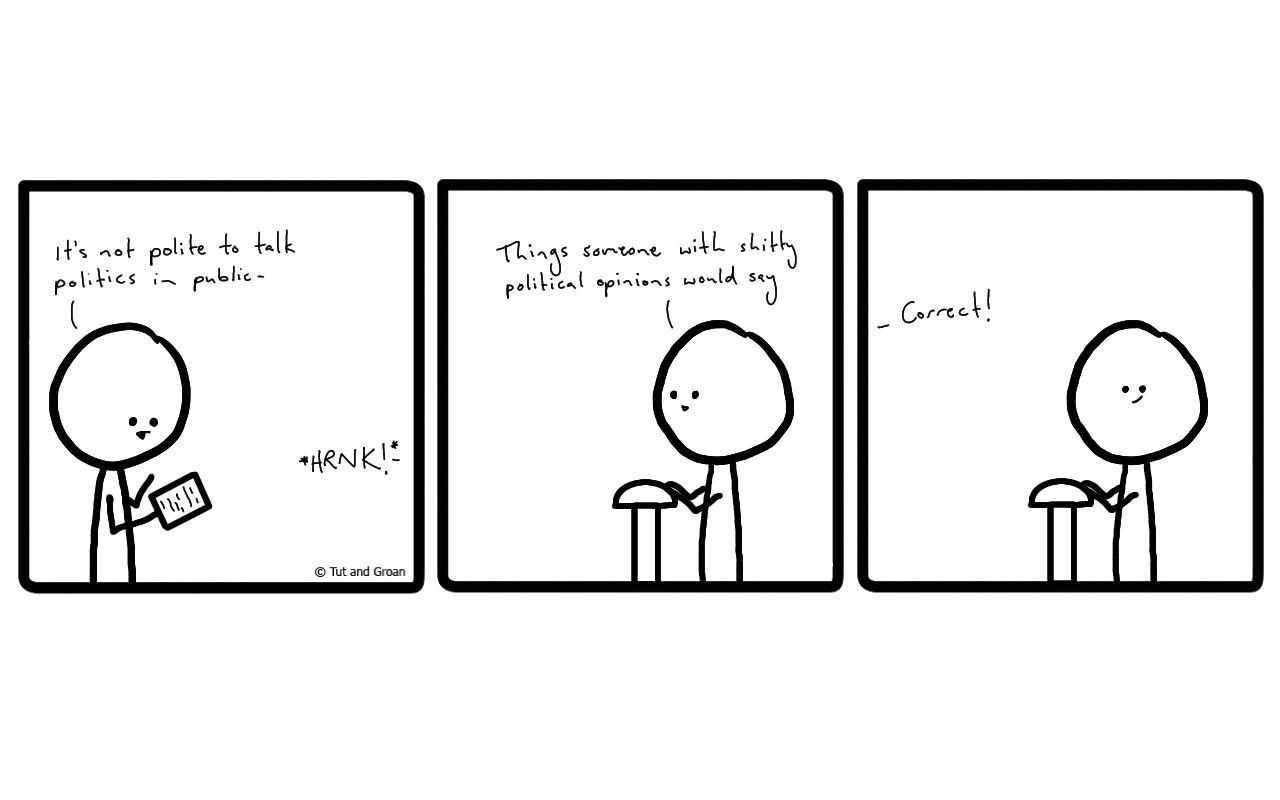 Tut and Groan Three Panels: Politics in Public cartoon